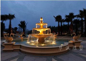 """棕榈泉国际花园D区""""蓝色威尼斯""""喷泉夜景"""